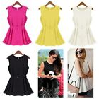 New Ladies Women Belted Chiffon Blouse Flared Sleeveless Shirt Vest Doll Tops