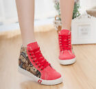 Canvas Womens High Top Athletic Hidden Wedge Flats Lace Up Casual Sneakers Shoes