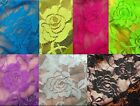 ROSE LACE soft nylon spandex stretch lace fabric BTY black green pink blue cream