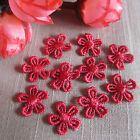 10/30/50 TINY BURGUNDY GUIPURE LACE DAISY MOTIFS Sew On Flower Appliques