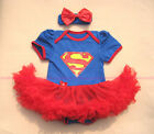 Baby Supergirl Superman Newborn Infant Headband+Romper Tutu Dress outfit sets