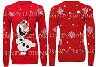 Womens Ladies Xmas Novelty Long Sleeve Frozen Olaf Print Knitted Sweater Jumper