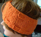 "Custom ""Handmade"" Hand Knit Hand Knit Hunter Orange or Camo Headband XL 24"" New"