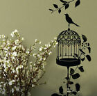 birdcage birds and tree branch wall stick art/Vinyl Wall Decals/wall quote