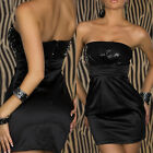 WOW... Womens Black Stretch Satin Bodycon Sequin Party Dress Sz's 8 10 12