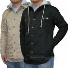 Dickies Jackets Mens Quilted Snap Front Lined Fleece Hooded Overshirt w/ Pockets