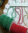 String of Pearls RED GREEN GOLD IVORY WHITE 6 mm thick 5 Metre Lengths MultiList