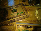 LOT OF 3  24 KT 99.9% GOLD BILL SET*($100)+($ 2)+($100 GREEN )EACH IN PVC HOLDER