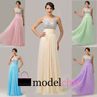 Strapless Jewel Crystal Chiffon Prom Bridesmaid Wedding Maxi Dress Size AU6-20