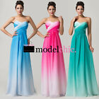 Ombre Gradient Strapless Chiffon Prom Bridesmaid Wedding Maxi Dress Size AU6-20