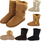 Womens Fur Suede Shoes Faux Mid Calf Cold Snow Winter Sheepskin Warm Boots New
