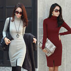 Women Slim Turtleneck Long Sleeve Leotard BodyCon Black Party Evening Mini Dress
