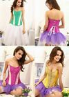 Charming Womens Green/Rose/Yellow Plastic Boned Lace Up Satin Corset Bustier Top