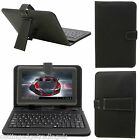 """7"""" inch Android Tablet PU Leather Micro or Mini USB Keyboard Stand Case, Black"""