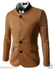(DJK)Mens Slim China Collar Leather Patched Chest Pocket Deco 5Button Jacket