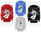 Womens Ladies Xmas Novelty Fozen Build The Snow Man Print Jumper Top UK 8-14