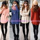 Women Knitted Pullover Jumper Long Sleeve Loose Sweater Knitwear Blouse Dress