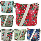 Ladies Butterfly Floral Polka Dots Oilcloth Satchel Cross Body Messenger Bag