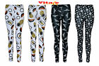 Womens girls skull print full length leggings ladies Halloween Skeleton 8-14