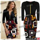 Womens Vintage Black Colorblock Cocktail Party Bodycon Pencil Dresses Size810246