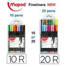 MAPED FINELINERS PACK OF 10 or 20 FINE LINERS ASSORTED COLOURS NEW