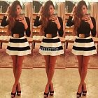 B5UT Autumn Winter New Cocktail Clubwear Black White Stripe Mini Ball Gown Dress