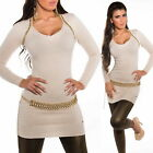 Women's Long Sweater with Gold Pearl - One Size S/M/L