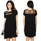 Fashion New Women See-Through Loose Dress Gauze Low Cut Party Cocktail
