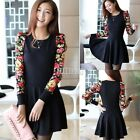 Korean Womens Casual Dress Clothing Long Sleeve Floral Print Winter Dress B5UT