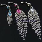 Gorgeous Jeweled Belly Dance Body Piercing Long Tassels Chains Navel Ring Bar