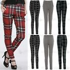 Womens Ladies Celebrity Tartan Print Cigarette Tapered Pockets Trousers Pants