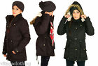 New Womens Military Oversized Comfortable Warm Fur Hood Long Parka Coat Jacket