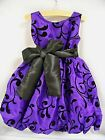 New Girls Holiday/Party Dress Sleeveless Purple & Black Sz 18/24 Mo to 2T/3T