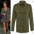 Women Ladies Winter Front Side Pocket Button Collar Military Sweater Coat Jacket