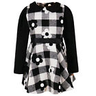 Baby Girls Long Sleeves Woven Flower And Check Print Collar Dress 9-36 Months