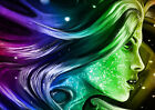PSYCHEDELIC COLOURFUL LADY GLOSSY ABSTRACT ART POSTER PRINT (A1 - A5 SIZES)