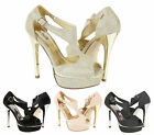 Womens Sandals Ladies High Heel Peep Toe Diamante Wedding Party Shoes Size