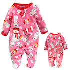 0-12M Newborn Baby Girl Fleece Christmas Jumpsuit Romper Climbing Clothes Gift