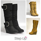 NEW Women's Buckle Detail Mid-Calf Wedge Boots