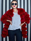 2015New 100% Real Genuine Fox Fur Long Coat Jacket Women Clothing Fashion Deluxe