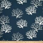 Navy Blue and Grey Coral Fabric - by the Yard - Premier Prints Isadella Slub