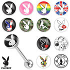 Playboy Bunny Logo Print Inlay 316L Surgical Steel Barbell Tongue Ring