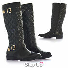 NEW Women's Quilted Patent Leather Mid-Calf Fur-Lined Riding Boots