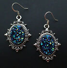 DRUZY Stone SILVER Victorian FILIGREE Gothic Earrings (you choose stone color!)