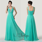 Turquoise V Neck Chiffon Jewel Prom Bridesmaid Wedding Maxi Dress Size AU6-20