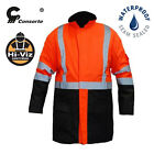 Hi Vis Viz Waterproof Rain Jacket High Visibility Contractors Bomber Safety Coat