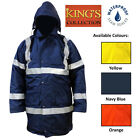 Men Hi Viz Vis Reflective Jacket Workwear Bomber Security Waterproof Hooded Coat