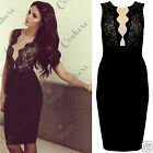 Womens Ladies Formal Cocktail Evening Black Lace Pencil Celebrity Party Dress