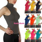 Basic Seamless Ribbed Sleeveless Mock Neck Turtleneck Shaping Tank Top Tee Shirt