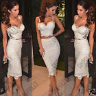 Womens Sexy Nude Lace Bralet Bustier Crop Top Skirt Two Piece Party Dress Set